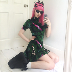 Kate Hannah - Chromat Crown Headpiece, Joyrich Beverly Hills Dress, Yru Qozmo Platforms - ~PALM  TREE  PRINCESS~