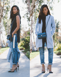 Stephanie Liu - Bb Dakota Coat, Chanel Bag, Paige Denim Jeans, Valentino Heels - BLUE NEUTRALS