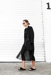 Kaitlyn Ham - Céline Crepe Slide Sandals, Rebecca Minkoff Sheer Split Pleated Midi Skirt, Monki Oversized Boyfriend Blazer, Ray Ban Round Metal Sunglasses - THE PLEATED SKIRT.