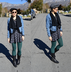 Bethany R. - Levi's® Denim Jacket, Harness Boot, Rose Dress, Leggings - Read All About It