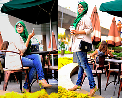 Noni Zakiah H. - Zara Denim, Newyork & Co. Loose Blazer, Dihanamons Hijab - A TOUCH OF GREEN...