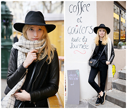 Typhaine - Catarzi Hat, Monki Scarf, Craie Perfecto, Asos Bag, Stradivarius Pants, Topshop Shoes - Café Tabac