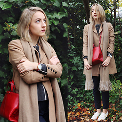 Gema L - Asos Coat, Office Brogues, Zara Sweater, Zara Bag - Autumnal greenery