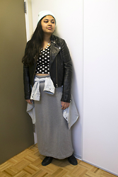 Maha Hawk - Forever 21 Mint Beanie, H&M Leather Jacket, Canada's National Exhibtion Jeweled Necklace, Forever 21 Polka Dot Crop Top, Old Navy Denim Shirt, Diy Grey Maxi Skirt, Sears Black Booties - Maxed Out