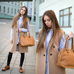 Diana Skitova - Mango Coat, Levi's® T Shirt, Mango Cardigan, Befree Leggins, Levi's® Boots, Marc Cain Bag - Winter in the air