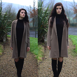 Harriet Emily - Uniqlo Polo Neck Dress, Asos Jacket, Zara Boots, Monica Vinader Ring, Chanel Earrings - I don't know where I'm going, but I hope it's somewhere nice