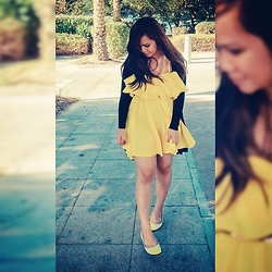 Faith Rodriguez - Asos Yellow Ruffle Strappy Dress, New Yorker Black Longline Cardigan, Sm Store Yellow Cap Toe Flats - Don't Steal My Sunshine