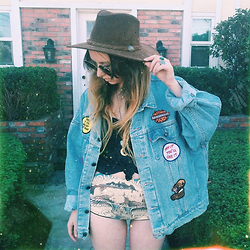 Sally S - Levi's® Patched Levi's Denim Jacket, Bad Vibes Shorts, Vintage Outback Suede Hat - Saturday Mornin'