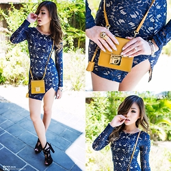 Joanna Aoran - Salvatore Ferragamo Small Shoulder Bag, Saint Laurent Ysl Arty Gold Ring, Zara Sky High Heels, Cartier Love Bangle, Showpo Garcia Dress In Navy Lace - Strength Comes from Within