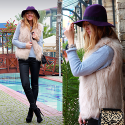Coco Bolinho - Forever New Hat, Forever New Bag, Forever New Boots, Forever New Pants, Forever New Fur Vest, Forever New Sweater, Forever New Bracelet - We are what we repeatedly do
