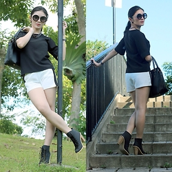 Emafe Rice - Christian Dior Earrings, Gaisano Sunglasses, Nccc Chain Necklace, Wekreate Kendra Bag, Heaha Black Top, Merit Shorts, Boots - Black & White Coordinate