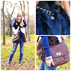 Oksana A - Guess? Vest, Fossil Bag, Ash Footwear Sneakers - Colorblock fur vest.