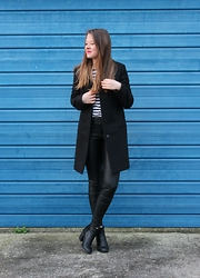 Nora Lauff - Cos Coat, River Island Leather Pants, H&M Boots, Zara Top - Stripes & Leather