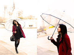 Sharu Nag's - Trench, One Piece, Boots, Heels, Leather Bag, Make Up, Umbrella - Under my umbrella... Saint-Louis, Paris