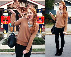 Taylor Turner - J. Crew Waffle Sweater, Etsy Bib Necklace, The Limited Purse, American Eagle Jeggings, Dolce Vita Suede Booties - Christmas House