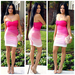 Marina Hidalgo - Fecbek Lady Sexy And Elegant Bra Above Knee Bandage Dress, Justfab Filigree, Justfab Heels - Pretty In Pink with Fecbek Bandage Dress