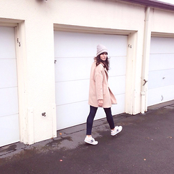 Tonya S. - Urban Outfitters Slouchy Beanie, Free People Miss Molly Textured Overcoat, New Balance 620s - Pastel Daydream