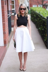 Martina Reynolds - Boohoo Black Lily Crop Top, Zara White Midi Skirt - Double Trouble