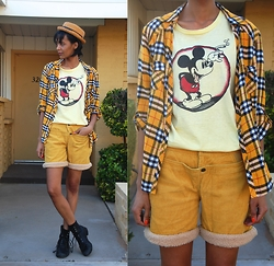 Luna Nova - Vintage Straw Hat, Thrifted Plaid Shirt, Vintage Stoner Mickey Shirt, Vintage Corduroy Sheerling Shorts, Vintage Boots - Sharing is Caring