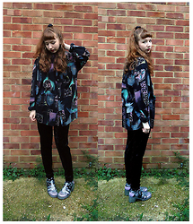 Emily May - Cow Vintage Chalk Picture Print Shirt, Monki Velvet Trousers, Juju Glitter Jelly Shoes - Chalk Pastel Pictures