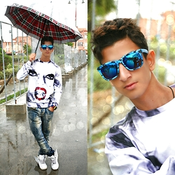 Abdelhadi Bernia - Choies Camouflage Blue Frame Sunglasses With Blue Mirror Lens   See More At: Http://Www.Choies.Com/Product/Camouflage Blue Frame Sunglasses With Blue Mirror Lens P33643?Cid=5514beryl, Choies 3d Unisex Woman Print Sweatshirt - TIME AFTER TIME