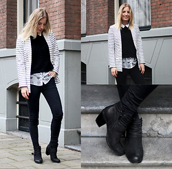 Anne Britt - Sacha Pistol Boots, H&M Striped Blazer - STRIPED WINTER