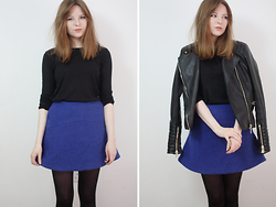 Rebekah D - Tk Maxx Jacket, & Other Stories Skirt - OOTD: Blue Skirt.
