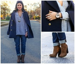 Cara Mia - J. Crew Boyfriend Jeans, Sparkle And Fade Oversized Sweater, Cheetah Booties, Michael Kors Chronographer Watch, H&M Navy Oversized Coat - Oh Captain My Captain