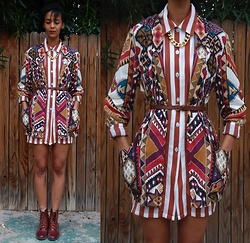 Luna Nova - Vintage Tribal Print Blazer, Thrifted Striped Shirt, Vintage Brown Leather Boots - 3 Rounds and a Sound