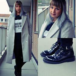 Comme des Coco - Zara Boots, Pull & Bear Sweater Dress, H&M Coat, H&M Leggings - Blue Sky
