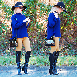 Anya R. - Target Hat, Elie Tahari Sweater, Tj Maxx Shoulder Bag, Pacsun Jeans, Gianni Bini Over The Knee Boots - Navy Blue & Mustard