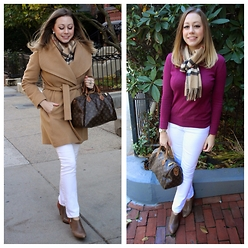 Amy Breckenridge - Michael Kors Camel Coat, Louis Vuitton Vintage Bag, See By Chloé Two Tone Booties, Burberry Cashmere Scarf, Victoria's Secret Sweater, Vince Camuto White Pants - Winter White