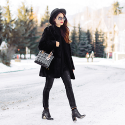 Sarah - Miu Sunglasses, Christian Dior Handbag, Elizabeth And James Coat, 360 Sweater, Vince Jeans - Mountainside