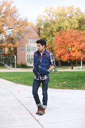 Peter Adrian - Adidas Plaid Gillet, Plaid Shirt, Kasil Workshop Darkwash Denim, Palladium Leather Boots - December Blues