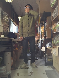 Keysyu Takagi - Globalwork Cable Knit Hat, Uniqlo Knit, Nudie Jeans Denim, Converse Shoes - Outfit