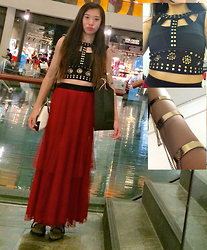 Monica Seet - Bugis Street Crop Top, Forever 21 Chained Bangle, Aldo Purse, Bugis Street Maxi Skirt - Birthday Dinner