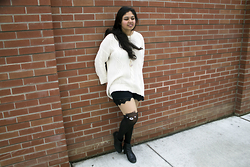 Maha Hawk - Forever 21 White Sweater, Bluenotes Black Shorts, China Town Bear Tights, Sears Black Booties - Cozy Bear