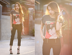 Wicked Ying NEW - Frontrowshop Comic Tee, Tomtop Slim Pants - Red Lipstick and Cigarettes