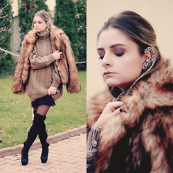 Madalina Gugila - H&M Faux Fur, Zara Dress, Mango Boots - Sweater Weather