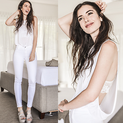 Elle-May Leckenby - Pylo Drop Sleeve White Tank, James Jeans Frost White - Frost white