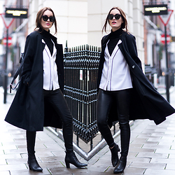 Anouska Proetta Brandon - Moka London Coat, Moka London Top, Similar Top, Reiss Leather Trousers, Reiss Boots, Céline Sunglasses - Moka London