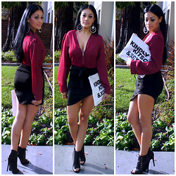 Marina Hidalgo - Oasap Chiffon Blouse, Romwe Assymmetrical Skirt, Shoedazzle Booties (Kavia), Oasap Xoxo Print Envelope Clutch, H&M Belt - Be Chic! Be Beautiful! Be You
