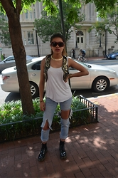 Silvia Fernandez - Céline Shades, Zara Sequinned Vest, Mango Top, Michael Kors Watch, Dr. Martens Patent Leather Boots - TB Washington