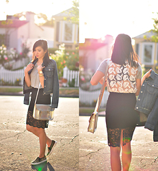 Tania H - Style Moi Scallop Lace Skirt, Joa Lace Back Tee, Report For Aeropostale Leopard Print Slip Ons - Lace on lace