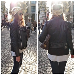 Nina Isabella P - H&M Turban, Louis Vuitton Neverful, Zara Leather Jacket, H&M Destroyed Jeans - Black and Gold