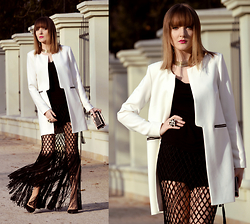 EWELYN D. - Reserved Jacket, H&M Skirt - Fringe black skirt + cut out jacket
