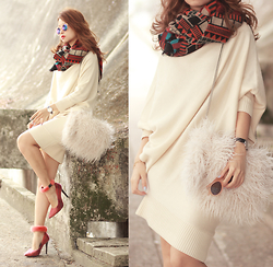 Mayo Wo - Frontrowshop Print Scarf, Frontrowshop Knit Dress, Frontrowshop Faux Fur Bag, Msgm Furry Heels - Fluffy puff