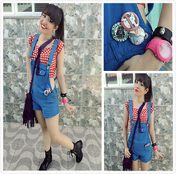 Larissa Petra - Juicy Couture Watches, Aliexpress Purple Fringe Bag, Renner Blue Short Overalls, I Made ​​It Myself Gridtop Cropped, Black Cothurnus - Geek is not only your boyfriend !