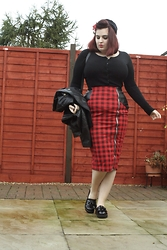 Jodie Marie Davey - Boohoo Skirt, Voodoo Vixen Cardigan, George At Asda Jacket, Vintage Hat, Linzi Loafers - Pencil