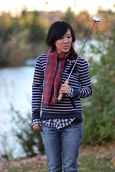 Jessica Swagman - Banana Republic Striped Sweater, Urban Pipeline Buffalo Plaid Button Up, Anoname Skinny Jeans, Vintage Plaid Scarf - Stripes + Plaids